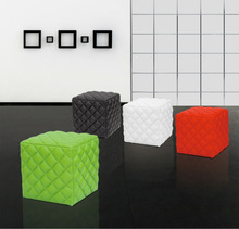 white leather cube ottomans &stools