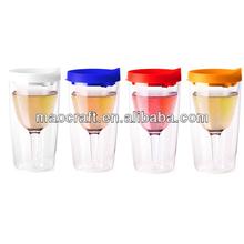 plastic double wine glass