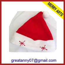 2015 new design children\s santa christmas hats with snow flower