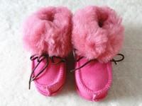 warm sheared sheepskin fur baby shoes