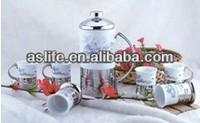 2014 Novel Design! 7pcs ceramic french press set-french press 600ml&coffee mugs 100ml,with s/s handle french press coffee set