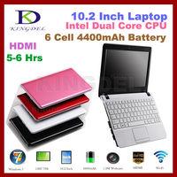Fashion laptop computer 10 Inch Netbook,Intel Atom N2600 Dual Core 1.6Ghz CPU,2GB RAM,500GB HDD, VGA, HDMI, 4400MAH Battery
