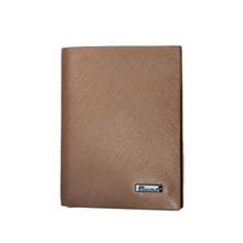 Hand Made Factory Brand Metal Logo Brown Slim Genuine Leather Wallet