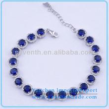 2014 venda quente blue sapphire diamante cz 925 pulseira de prata esterlina