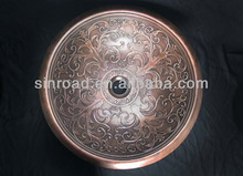 Round Bronze Sink With self-rimming, Rolled Classic design