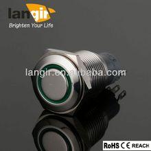 3A 250VAC 16mm illuminated push button switch with green illuminated