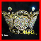 Fully round Shining ab stone king and queen pageant crown