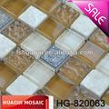 suave de color amarillo ocre de cristal de vidrio mezcla de mármol y cerámica mosaico de vidrio moderno backsplash de la cocina