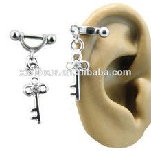 316L Surgical Steel Ear Cartilage Stud Ring Helix Shield Piercing Key