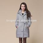 2014 women fashion woolen long style elegance super warm padded down jackets for winter with belt