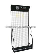 black metal wire display rack grid back