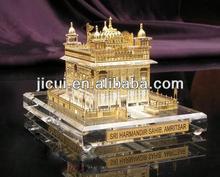 Crystal golden temple model,Crystal Building Model Manufacture For India Souvenir
