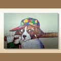hecho a mano moderno de nueva york yankee perro de béisbol de pintura al óleo