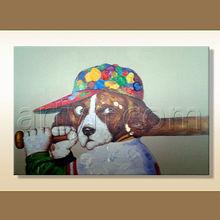 Modern Handmade New York Yankee Baseball Dog Oil Painting