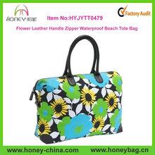 Fashion Women Flower Leather Handle Zipper Waterproof Beach Leather Tote Bag