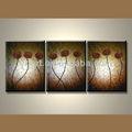 mão desenho da flor de pintura abstracta de obras de arte com 3 painéis