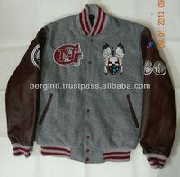 Custom varsity jackets / Premium Melton Wool With Real Cowhide Leather Sleeves