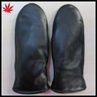 Fashion&Simple Ladies Black Leather Mitten with black fake fur lining