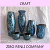 Stained Color Mosaic Indoor Flower Vase Different Types Blue Glass Vases Wholesale