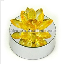High Quality Customise Crystal Yellow Lotus For Home Decoration