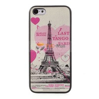 Cross Textured Leather Coated Eiffel Tower Pattern TPU Gel Case for iPhone 5c