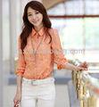 las mujeres nuevo casual impreso blusa de señora de la oficina de la camisa