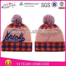 Two Tone Custom Design High Quality Cheap Knitted Custom Pom-Pom Beanie/Custom Made Beanie