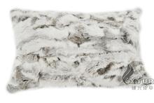 CX-D-31 40X60CM Genuine Rabbit Fur Patch Work Cushion Cover