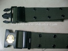 velcro inside and quick release buckle of navy green police belt