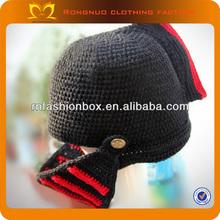 2014 Wholesale Kids Hats Cute Crochet Pattern Knight Helmet Hat Woolen Yarn Infant Crochet Caps Fancy