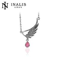 2014 fashion single rhinestone angel wing necklace