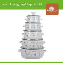 5Piece White Enamel Casserole Sets With Glass Cover& Enamel Porcelain Cooking Pot Enamel Ceramic Cookware