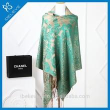 Embroidery vintage style flower print plain fashion pashmina scarf