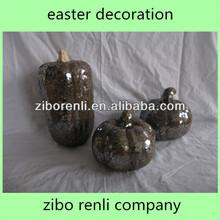Cute Decorative Glass Mosaic Easter Ornament Color Artificial Craft Pumpkins for Sale
