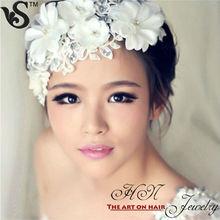 Korean Bridal Lace Flower Pearl Wedding Headdress Flower Hair Accessory