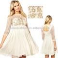 Dernier blanc en mousseline de soie robe de mode 2014 arabe. femme design