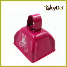 3 inch yellow cow bell customized logo branded promotional race cowbell