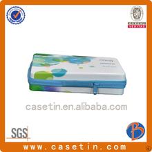 Custom rectangle storage tin box with zipped pencil case
