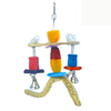 Loofah Cotton Color Wood Parrot Toys with Big Bell LB087