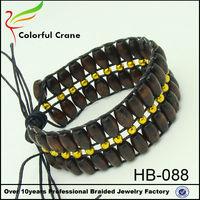 2015 fashion western culture element wooden beads wrap bracelet coustomized wholesale