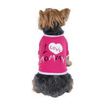 "Dog Hot Pink & White "" I love Mommy "" T-shirts Pet Family Prefer"