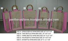 PP Laminated Jute Wine Botle Packaging Bag