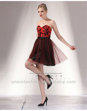 Sexy charming sweetheart red appliques black yarn 2014 evening dresses black and red evening dress black organza mini cocktail