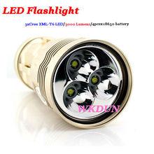 Skyray flashlight Sky ray king 3T6 CREE XM-L T6 4x18650 3000-Lumen 3 modes Torch Light