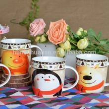 Hunan Hualian Sourcing Ceramic New Bone China Round Decal Snowman Coffee Mug