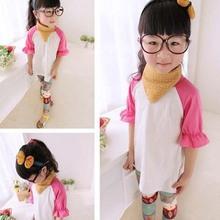 Tae 2040 Children clothing manufacturers china girls round collar medium sleeve T-shirt new design girls beautiful t-shirts