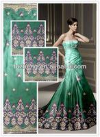 Green ribbon embroidered dubai velvet fabric for wedding dress