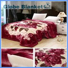 2015 hot sale 4kg best quality super soft plush home deep red flower print raschel blanket