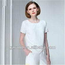 2014 European and American white blank t-shirt women for women's clothing manufacturer model-757