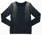 High Quality Stock Woman's Round Neck Long Sleeve Plain 100% Cotton T-Shirt
